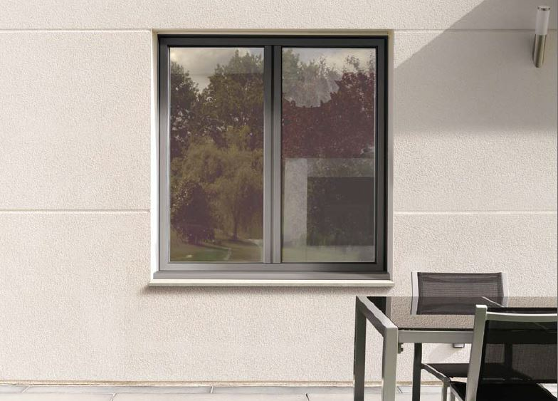 fenetre oscillo battant deux vantaux ouvrant a la francaise en alu gris fermetures protections. Black Bedroom Furniture Sets. Home Design Ideas