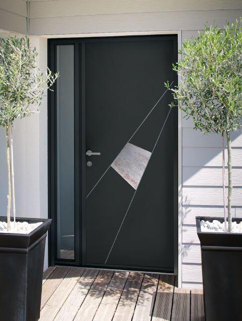 porte entree alu grise sur mesure fermetures protections lyonnaises. Black Bedroom Furniture Sets. Home Design Ideas
